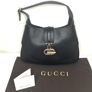 Authentic Gucci black leather Jackie Hobo bag
